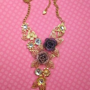 Betsey Johnson Crystal Roses Statement Necklace l